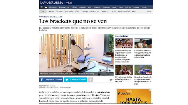Foto 1 del artículo del Doctor Fernando de la Iglesia sobre publicación en La Vanguardia Los brackets que no se ven