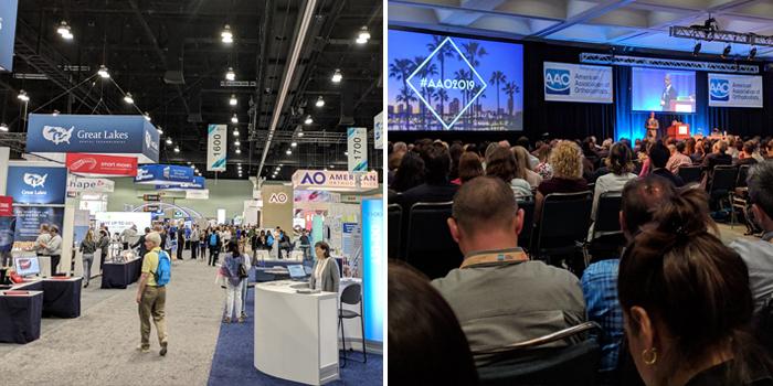 Imagen de una conferencia y expositores del Congreso Anual 2019 de la Asociación Americana de Ortodoncistas celebrado del 3 de mayo al 7 de mayo en Los Ángeles